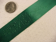 Delicate Floral on Hunter Green Satin Jacquard Ribbon #-WR-148