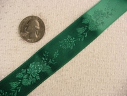 Delicate Floral on Hunter Green Satin Jacquard Ribbon #-WR-155