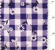 "Royal Blue Daisy Printed 1/4"" Gingham Check Fabric #ABC-588"