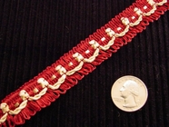 Fancy Red Loop Fringe Trim Made in Italy Vintage Drapery Braid Trim