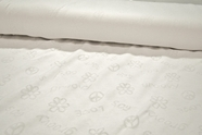 Peace and Love Imprint White Pure Cotton Knit Fabric #NV-550