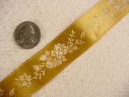 Delicate Floral on Golden Satin Jacquard Ribbon #-WR-152