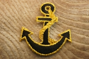 Black Anchor with Gold Metallic Edge Iron On Applique # appliques-1022