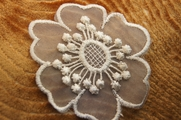 Sheer Lace Big White Flower Applique # appliques-1048
