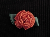 Big Flower Red Ribbon Rosette Applique  #AP-263