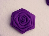 Purple Grosgrain Ribbon Flower Applique #AP-274