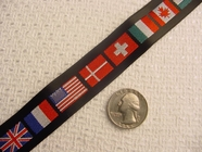 Multi-Flag on Black Jacquard Ribbon #WR-32