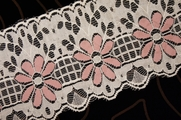 "4"" Ivory Tea Rose Floral Lace Trim #lace-190"