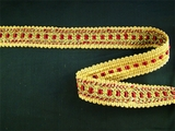 "Italian 1"" Dark Red Gold Olive Fancy Braid Trim LT-93"