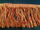 "Italian 5 3/4"" Exclusive Rust Red Gold Fancy Long Fringe LT-116"