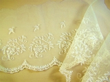 Wide Scalloped Off White Floral Embroidered Lace Trim