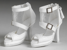 WHITE MESH ANKLE BOOTS