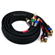 6ft 18AWG CL2 Premium 5-RCA Component Video/Audio Coaxial Cable (RG-6/U) - Black