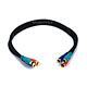1.5ft 22AWG 3-RCA Component Video Coaxial Cable (RG-59/U) - Black