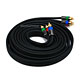 12ft 18AWG CL2 Premium 3-RCA Component Video Coaxial Cable (RG-6/U) - Black