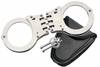 Hinged Hand Cuffs w Holder - Black