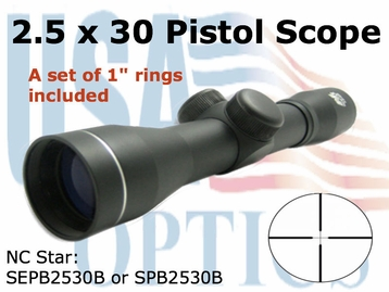 NC STAR  2.5x30 Black Pistol Scope
