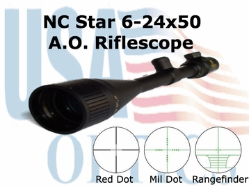 NcStar 6-24x50 Riflescope; Illuminated Red Dot Reticle, Free Rings (SEFD62450G)