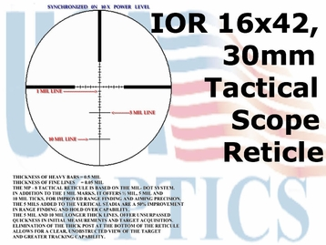 IOR Valdada 16x42 Long Range Tactical Scope; 30mm