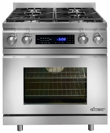 """DR30DNG Dacor Distinctive 30"""" Freestanding Dual-Fuel Range - Natural Gas - Stainless Steel"""