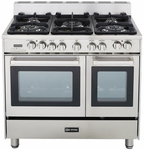 "VEFSGE365DSS Verona 36"" Double Oven Dual Fuel Range with 4"" Backguard - Stainless Steel"