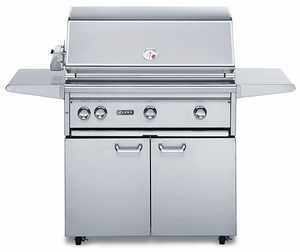 "L36ASFRLP Lynx 36"" Freestanding Outdoor Grill with All ProSear2 IR Burner with Rotisserie - Liquid Propane - Stainless Steel"