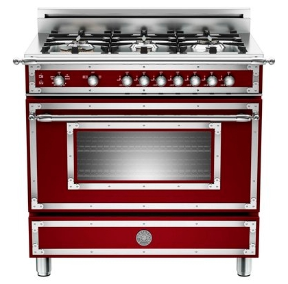 "HER366GASVI01 Bertazzoni Heritage 36"" Range with 6 Brass Burners and Gas Oven - Wine"