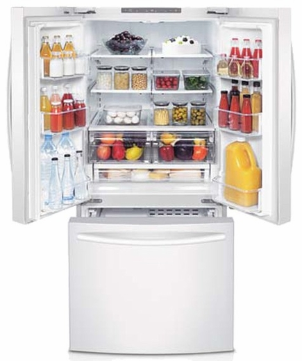 Rf220nctaww Samsung 22 Cu Ft 30 Inch French Door Refrigerator White