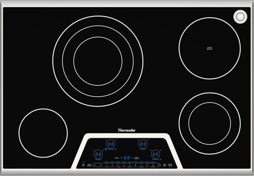 "CES304FS Thermador 30"" Masterpiece Deluxe Electric Cooktop with 4 Elements, Touch Control Panel and 1 Sensor Dome - Black with Stainless Steel Trim"