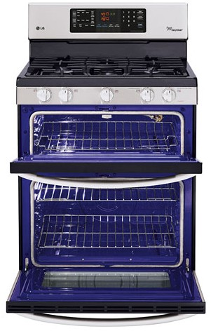LDG3035ST LG 6.1 Cu. Ft. Capacity Gas Double Oven Range with SuperBoil Burner and EasyClean - Stainless Steel