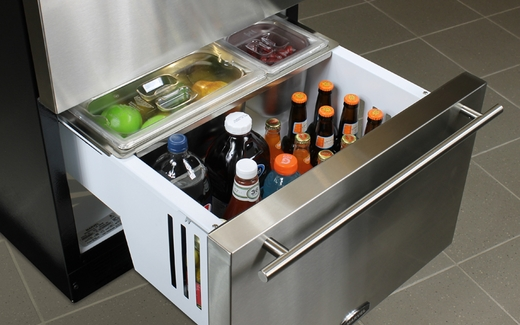 """60RDE-BS-F Marvel 24"""" Refrigerated Drawers - Black Cabinet, Stainless Steel Doors"""