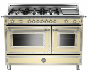 """HER486GGASCR01 Bertazzoni Heritage 48"""" Range with 6 Brass Burners + Griddle and Gas Oven - Cream"""