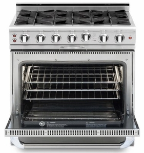 """CGSR362B2L Capital Culinarian Series 36"""" Self-Clean Liquid Propane Range with 4 Open Burners and 12"""" Grill - Stainless Steel"""