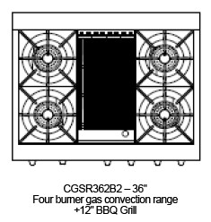 """CGSR362B2L Capital Culinarian Series 36"""" Self-Clean Range with 4 Open Burners and 12"""" Grill - Liquid Propane - Stainless Steel"""
