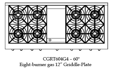 "CGRT604G4L Capital 60"" Liquid Propane Range Top with 8 Open Burners and 12"" Griddle - Stainless Steel"