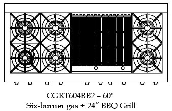 "CGRT604BB2L Capital 60"" Liquid Propane Range Top with 6 Open Burners and 24"" Grill - Stainless Steel"