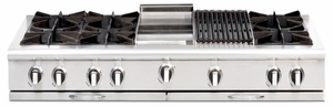 "CGRT604GG2L Capital 60"" Liquid Propane Range Top with 6 Open Burners and 24"" Griddle - Stainless Steel"