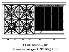 "CGRT484BBL Capital Culinarian 48"" Range Top with 4 Open Burners and 24"" Grill - Liquid Propane - Stainless Steel"