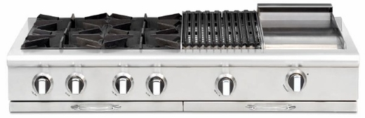 "CGRT484BBL Capital 48"" Liquid Propane Range Top with 4 Open Burners and 24"" Grill - Stainless Steel"