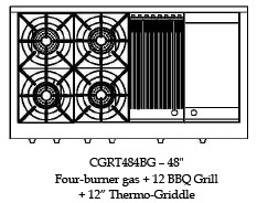 "CGRT484BGL Capital Culinarian 48"" Range Top with 4 Open Burners and 12"" Grill and 12"" Griddle - Liquid Propane - Stainless Steel"