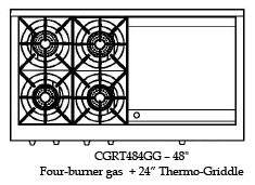"""CGRT484GGL Capital Culinarian 48"""" Range Top with 4 Open Burners and 24"""" Griddle - Liquid Propane - Stainless Steel"""
