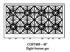"""CGRT488L Capital Culinarian 48"""" Range Top with 8 Open Burners - Liquid Propane - Stainless Steel"""