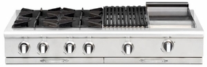 "CGRT484G2L Capital 48"" Liquid Propane Range Top with 6 Open Burners and 12"" Griddle - Stainless Steel"