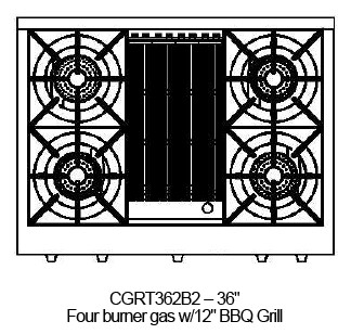 "CGRT362B2L Capital 36"" Liquid Propane Range Top with 4 Open Burners and 12"" Grill - Stainless Steel"