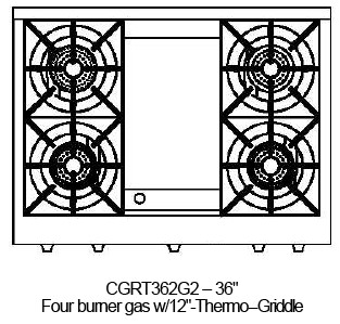 """CGRT362G2L Capital 36"""" Liquid Propane Range Top with 4 Open Burners and 12"""" Griddle - Stainless Steel"""