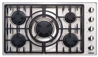 "MCT365GSL Capital Maestro Series 36"" Liquid Propane 5 Burner Cooktop - Stainless Steel"