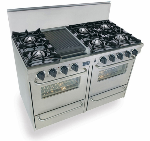 "TPN510-7BW Five Star 48"" Pro Style Gas Range with Open Burners - Liquid Propane - Stainless Steel"