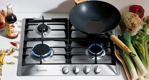 """KM360G Miele 24"""" 4 Burner Knob Control Cooktop - Natural Gas - Stainless Steel"""