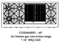 "CGSR604BB2N Capital Culinarian Series 60"" Self-Clean Gas Range with 6 Open Burners and 24"" Grill - Natural Gas - Stainless Steel"