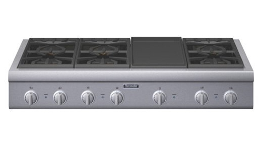 "PCG486GD Thermador 48"" Pro Gas Cooktop 6 Burners & Griddle - Stainless Steel"